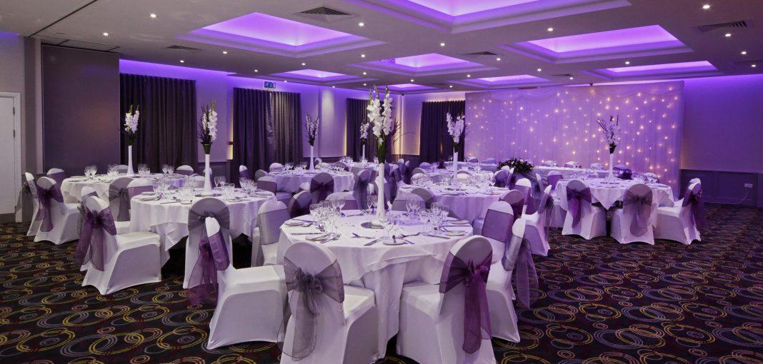 Letchworth Hall wedding purple decor - Fairview Hotel Collection