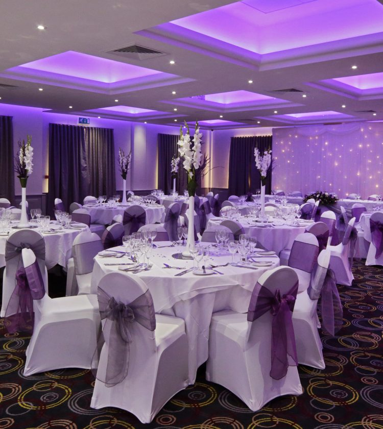 Letchworth Hall wedding purple decor - Fairview Hotel Collection